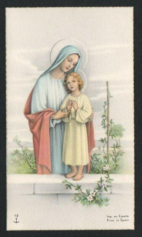 HOLY CARD ANTIQUE of Virgin estampa santino image pieuse andachtsbild - $7.00. Holy card antique of Virgin 372655399611