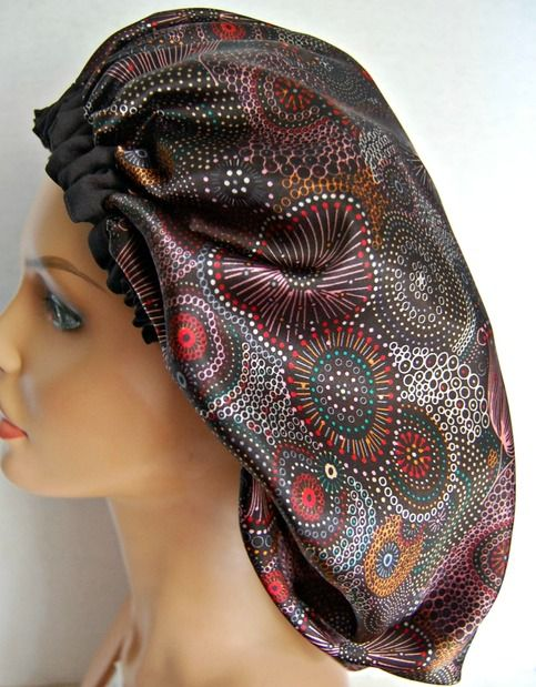Large satin hair bonnet for big hair. Made from luxurious satin charmeuse.  Made in