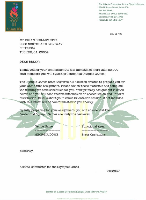 My u002796 Volunteer Acceptance Letter! Atlanta u002796 Olympics - acceptance letter