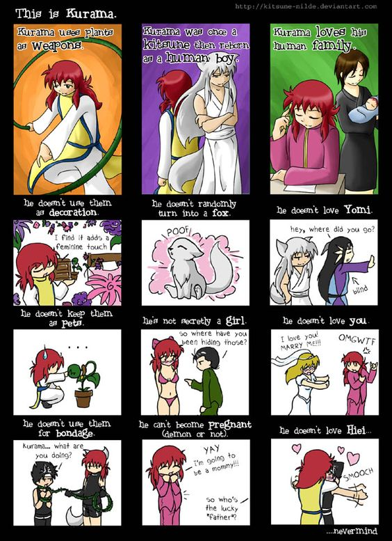 Do people think that Kurama is a girl?  Then again he originally was going to be a girl so.