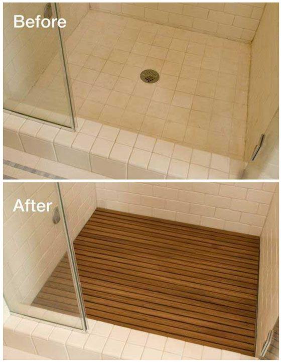 badkamer opknappen met houten vloertje in de douchehoek