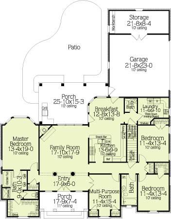 House plans ceilings and stairs on pinterest for Floor plans kitchen in front of house