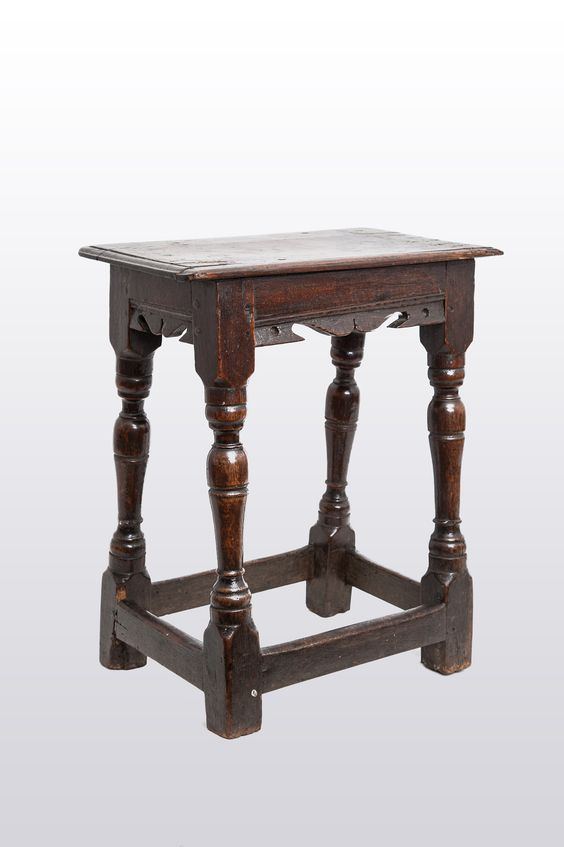 17th century oak joined stool, Marhamchurch antiques