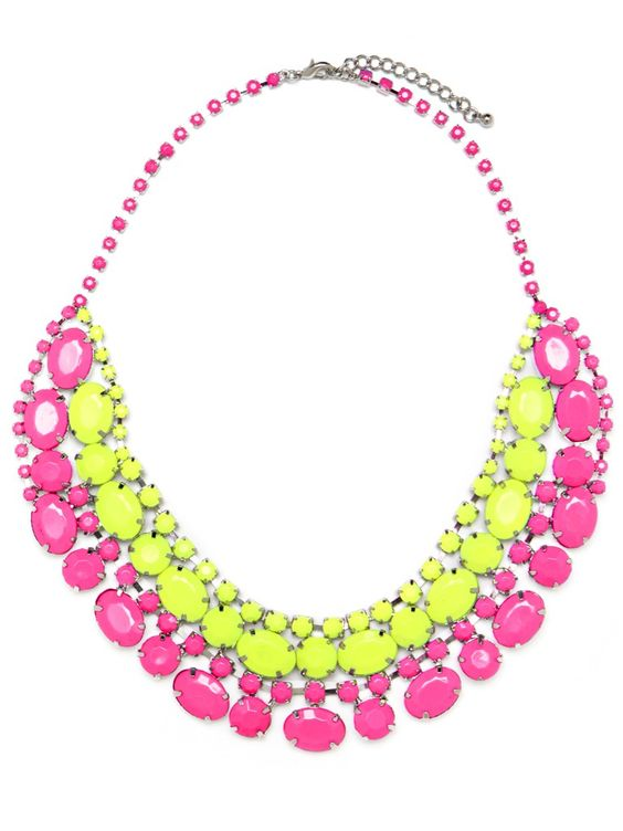 Bring in the neon trend with a fabulous Yellow and Pink Statement Jewel Necklace $62!
