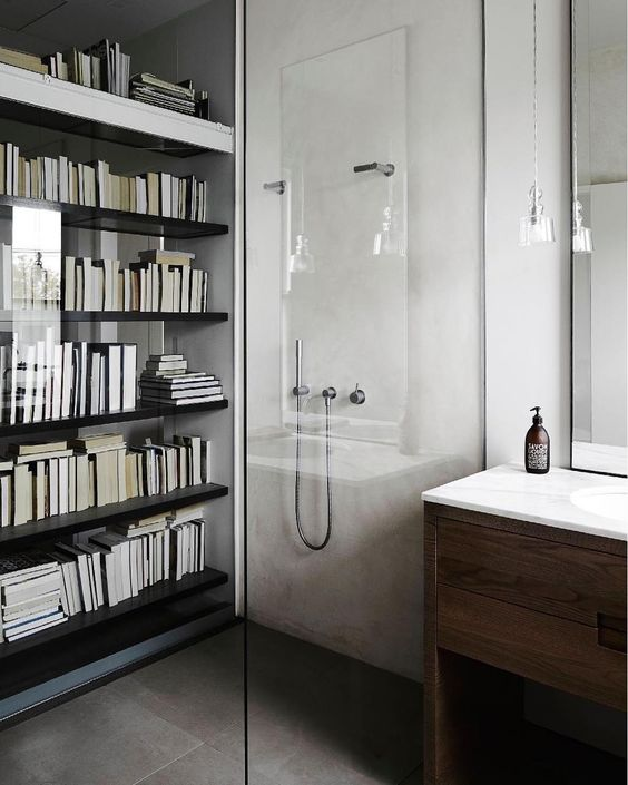 A bit of bathroom porn never goes astray...especially when it's a shower behind a bookcase!!! #homedesign #lifestyle #style #designporn #interiors #decorating #interiordesign #interiordecor #architecture #landscapedesign by adesignersmind