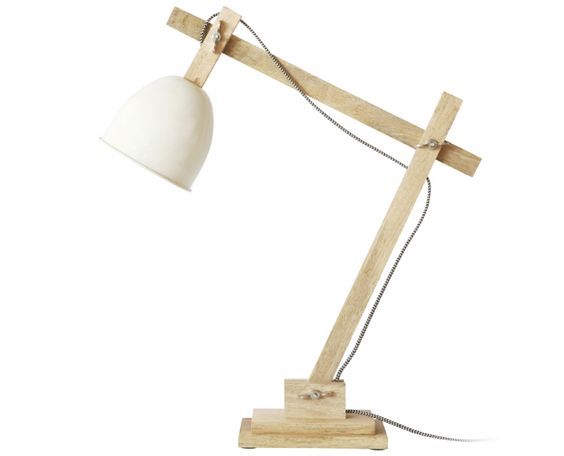 Timber Desk Lamp: Timber Desk Lamp with Beige Shade - Homeware | Weylandts South Africa,Lighting