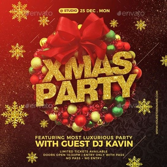 Christmas Party Flyers In 2020 Party Flyer Christmas Flyer Template Christmas Flyer