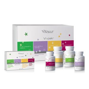 ViSalus Vi-Pak is a total health system that providesthe ideal blend of vitamins and nutrients for optimum health. Featuring four unique supplements, this balanced formulation delivers optimal nutrition to support yourgoals of living healthier and feeling younger.
