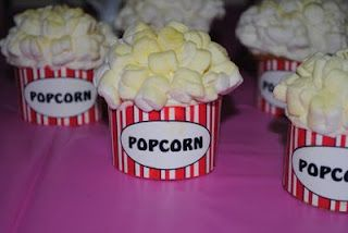 Popcorn cupcakes I made for Preslei's movie premiere 3rd birthday party! Looks easy but SO time consuming!