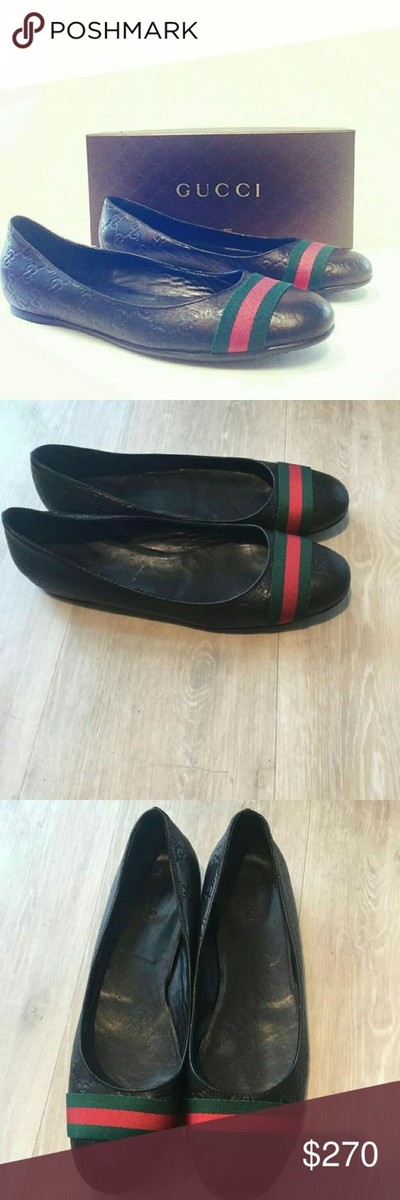 Gucci women's flats Very very good condition.  Gucci women's flats. Yes, they are authentic. Guccissimaleather with nylon green and red stripe. Gucci Shoes Flats & Loafers