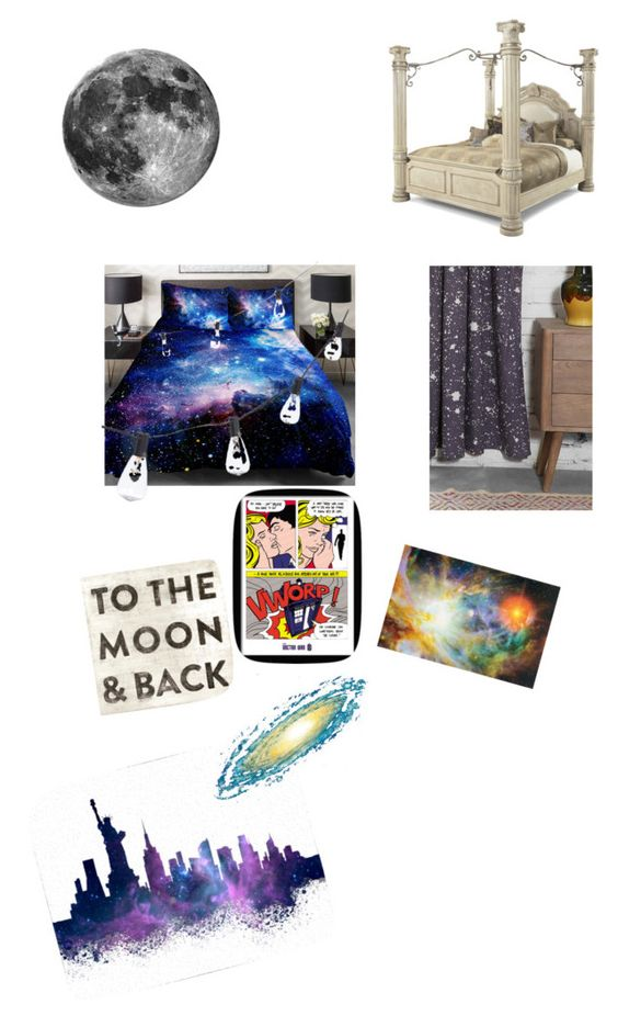 """The cosmos"" by jessie-alexandra-malik ❤ liked on Polyvore featuring interior, interiors, interior design, home, home decor, interior decorating, Magical Thinking, CB2 and Brewster Home Fashions"
