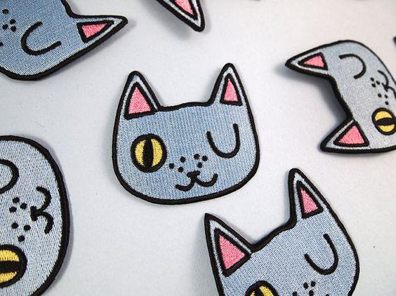 Guiño patch cat - hierro en remiendo - cose en el remiendo - patch cat - gato de hierro en remiendo - me gusta regalo de gatos - gato azul - accesorios gato - gato - gato