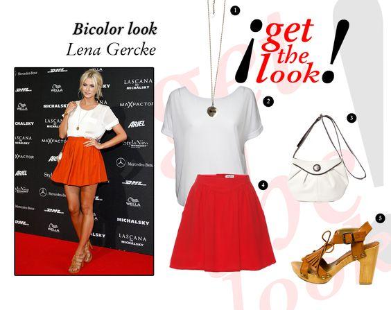 Un toque de rojo para acabar con la sección de looks de hoy. Lena Gercke aposta también por la combinación bicolor, pero esta vez en rojo. Una camiseta blanca combinada con una falta roja. Con unas sandalias altas conseguimos un look 10!