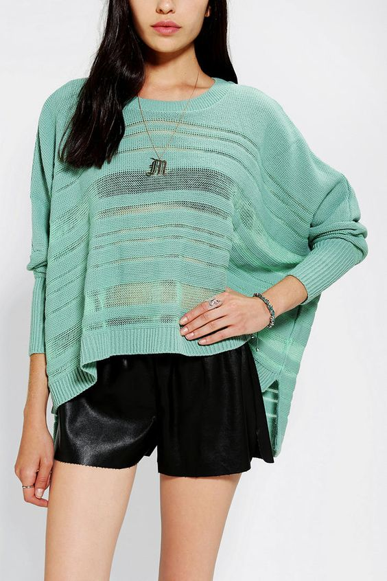 Sparkle & Fade Sheer Stripe Drape Sweater