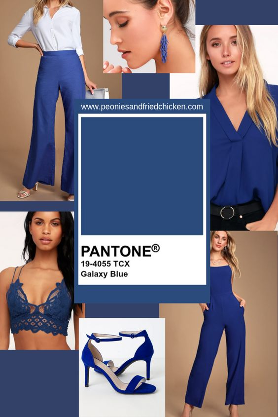 Pantone 2019 Autumn/Winter NYFW palette includes Galaxy Blue.  A great splash of color to add to your existing fall wardrobe.  #nyfw #galaxyblue #fallfashion #pantone #peoniesandfriedchicken