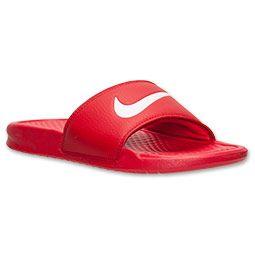 Men\u0026#39;s Nike Benassi Swoosh Slide Sandals | FinishLine.com | University Red/White