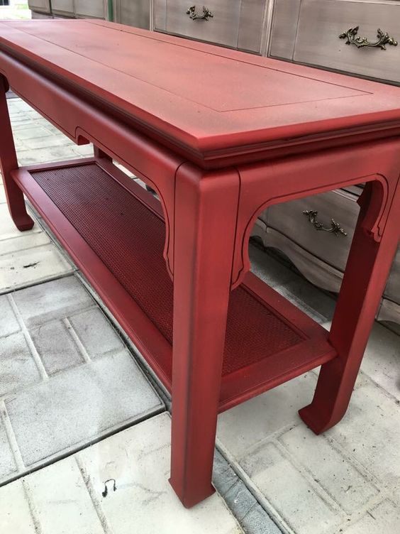 Red grunged sofa table