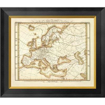 Global Gallery Karte Von Europa, 1837 by Heinrich Berghaus Framed Graphic Art on Canvas Size: