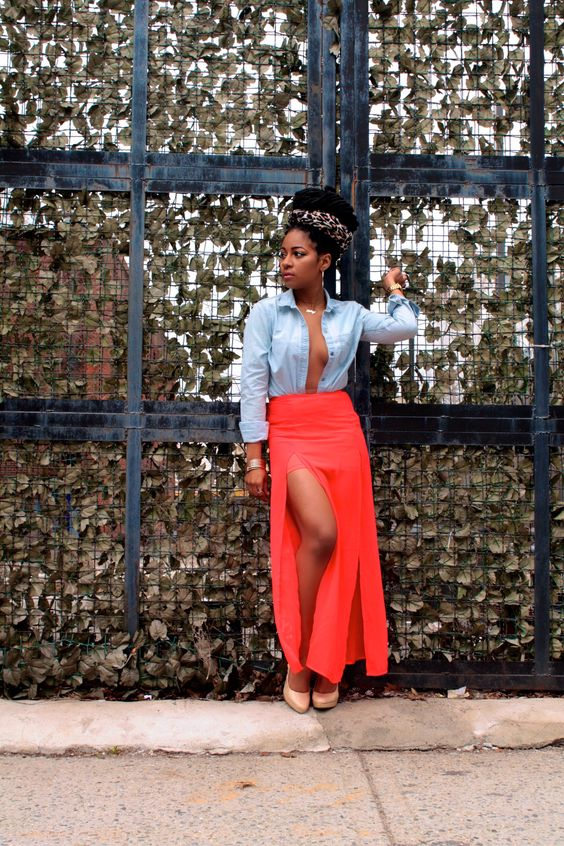 Maxi Skirt and Denim Shirt http://www.cottoncandypumps.com/the-blogger/