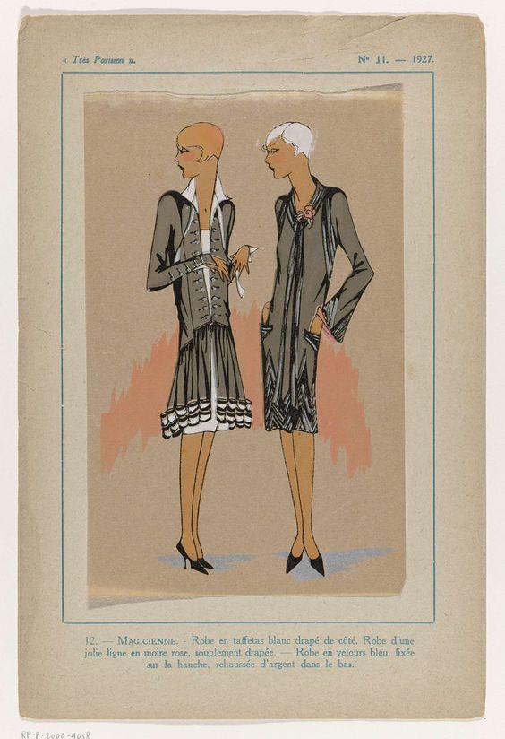 Anonymous | Très Parisien, 1927, No. 11 : 12.-Magicienne.-Robe en taffetas..., Anonymous, G-P. Joumard, 1927 | Jurk van witte tafzijde 'drapé de côté'; jurk van roze moire, losjes gedrapeerd. Jurk van blauw fluweel aan de onderkant versierd met zilver. Prent uit het modetijdschrift Très Parisien (1920-1936).