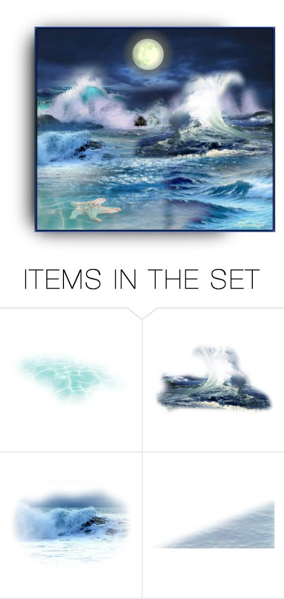 """""""OCEAN BLUE"""" by arjanadesign ❤ liked on Polyvore featuring art, ocean, artset, artgallery and artexpression"""