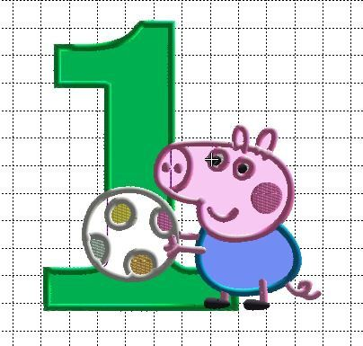 Embroidery Design Applique George Pig with ball both 2 sizes by SweetasLemonandHoney on Etsy https://www.etsy.com/listing/196948452/embroidery-design-applique-george-pig