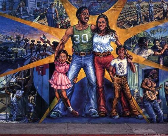 """This painting entitled """"La Familia"""" was painted by David Botello. Him and his partner Wayne Healy made murals such as these to make a voice in the Chicano movement and develop Chicano art. It was created in the year 1977."""