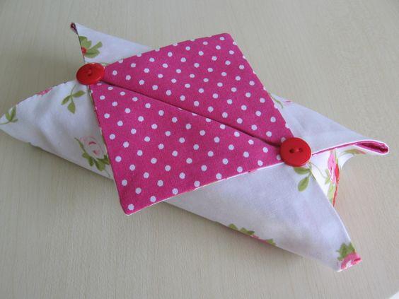 Boite a mouchoir en tissu origami - idée récup avec du jean (petit citron)