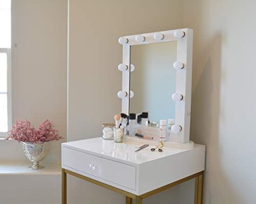 Glamstation Makeup Vanity Table With Mirror And Led Lights Gloss White And Gold For Sale Https Bathro Makeup Table Vanity Vanity Table Mirror With Lights