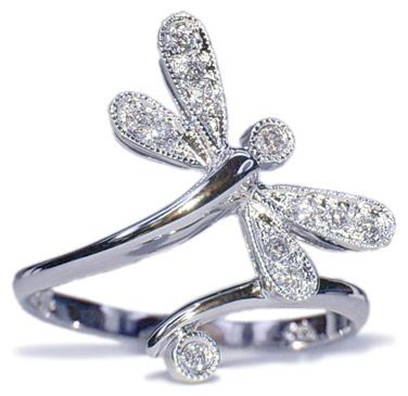 14k white gold dragonfly ring 11 carats