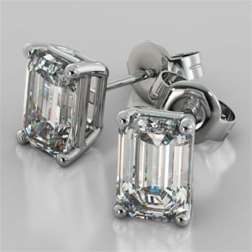3Ct Signity Diamond D//VVS1 Crown Stud Earrings Crafted In 925 Sterling Silver