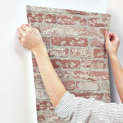 Stuccoed Brick Peel And Stick Wallpaper Dark Red Roommates Peel And Stick Wallpaper Temporary Decorating Stucco