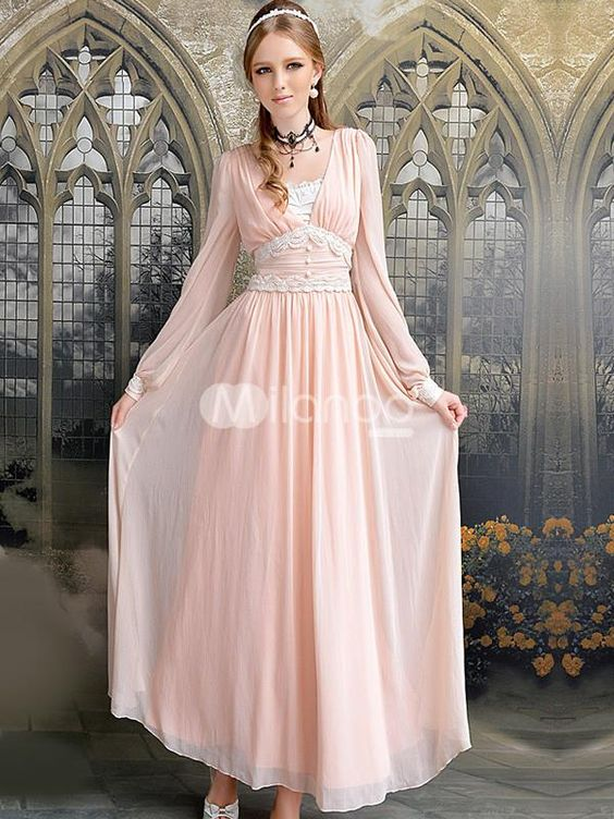 Deluxe Nude Color Chiffon V-neck Long Sleeve Womens Maxi Dress ...