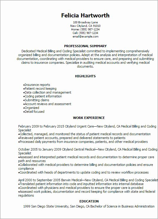 Billing And Coding Resume Inspirational Medical Billing And Coding Specialist Resume Template Medical Coder Resume Resume Examples Medical Coder