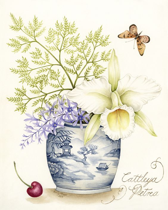 Cattley Orchid in a Blue and White Pot with fern leaf and Petrea - original watercolour painting, available as a limited edition print.