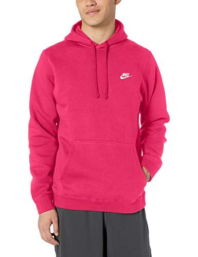 Nike Men's NSW Club Hoodie Pullover, Rush Pink/Rush Pink ...