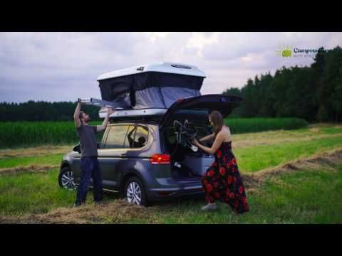 James Baroud Evasion Evo Dachzelt Auf Vw Touran Youtube Roof Tent Roof Top Tent Suv Camper