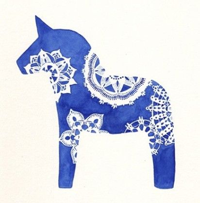 Cute watercolor horse print #blue