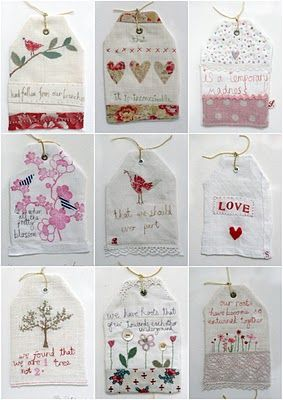 Beautiful embroidered tags from Hardaker and Pope