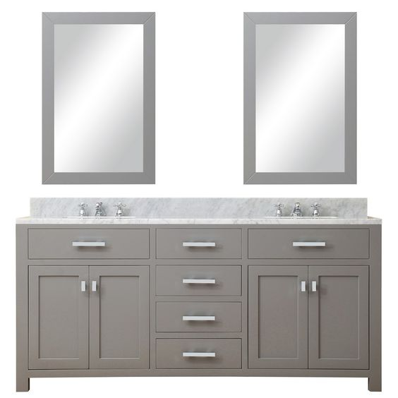 Water Creation  39 s collection of premier double sink bathroom vanities will add a level of sophistication and. Madison 72 quot  Cashmere Grey Double Sink Bathroom Vanity With 2
