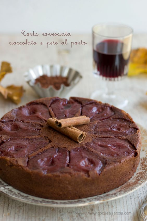 Italian Chocolate cake with pears and portwine