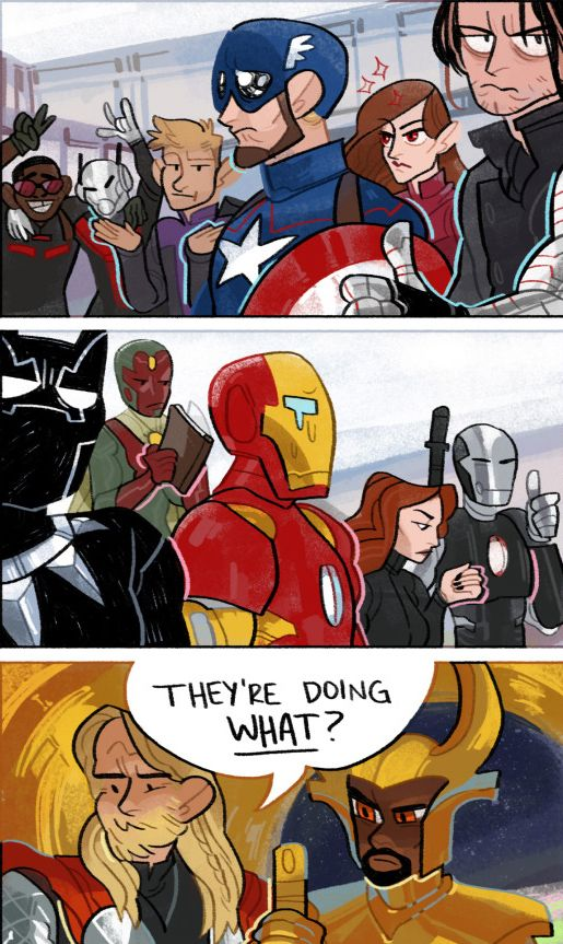 "Leave the Midgardians alone for TEN MINUTES and look what happens. (""Captain America: Civil War"") Art by lousysharkbutt:"