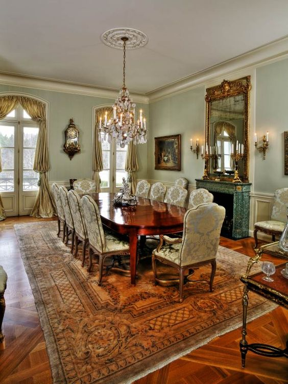 Beautiful dining room with French accents.