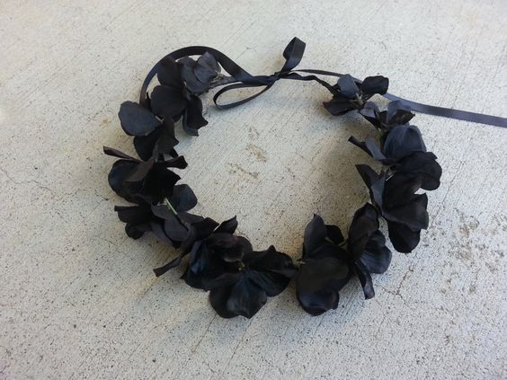 Black  Floral Headband/ Flower Crown. Coachella or by DevineBlooms