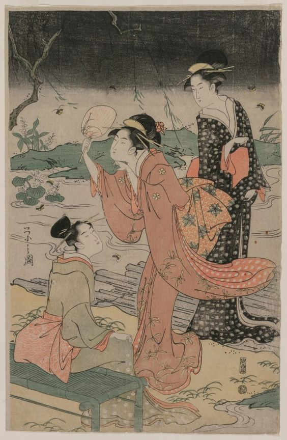 Women Beside a Stream Chasing Fireflies, mid 1790s Chobunsai Eishi (Japanese, 1756-1829)