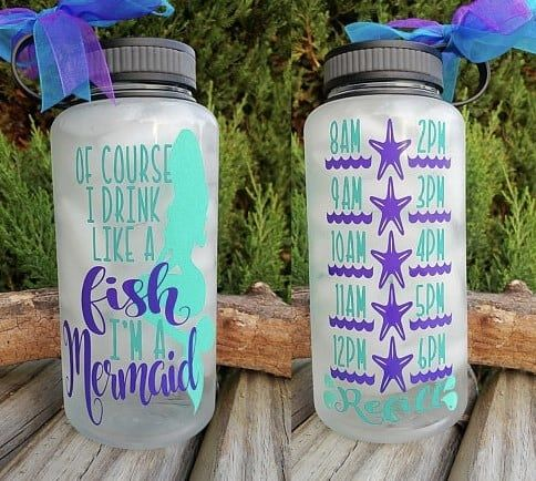 Mermaid Water Bottle Mermaid Skinny Tumbler with Straw Can/'t Be a Mermaid Without Water Motivational Tumbler Water Bottle Tracker