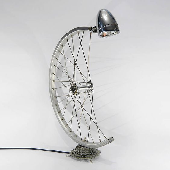 Bicycle parts desk lamp by Bespoke Spokes  | Please subscribe to my weekly newsletter at upcycledzine.com !#upcycle