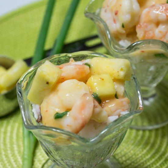 Shrimp baked in a citrus sauce and then tossed with fresh pineapple.