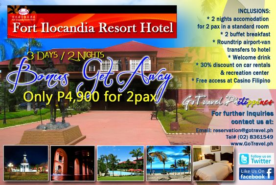 Fort Ilocandia Resort Hotel Bonus Get Away Package for only Php4,900.00 – good for 2 pax!