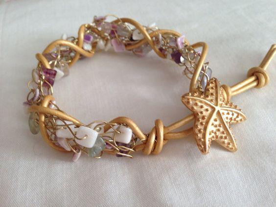 Shell braceletgold braceletcrochet leather by PatriciaEnterprises, $27.00